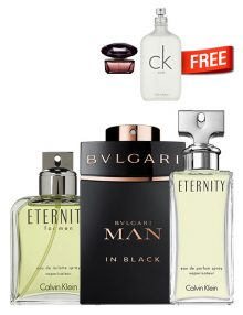 MAN in Black for Men, edP 100ml by Bvlgari + Eternity for Men, edT 100ml by Calvin Klein + Eternity for Women, edP 100ml + CK One Unisex, edT 100ml by Calvin Klein Free! + Crystal Noir Mini for Women, 5ml by Versace Free! - Bundle Offer for Couples