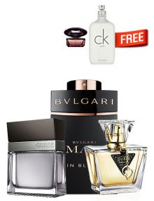 MAN in Black for Men, edP 100ml by Bvlgari + Seductive for Men, edT 100ml by Guess + Seductive for Women, edT 75ml by Guess + CK One Unisex, edT 100ml by Calvin Klein Free! + Crystal Noir Mini for Women, 5ml by Versace Free! - Bundle Offer for Couples
