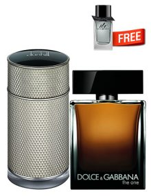 The One for Men, edP 100ml by Dolce and Gabbana + Icon for Men, edP 100ml by Dunhill + Mr Burberry Mini for Men, 5ml by Burberry Free - Bundle Offer for Men!