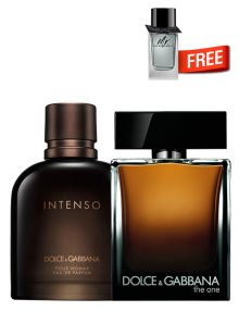 The One for Men, edP 100ml by Dolce and Gabbana + Intenso for Men, edP 125ml by Dolce and Gabbana + Mr Burberry Mini for Men, 5ml by Burberry Free - Bundle Offer for Men!