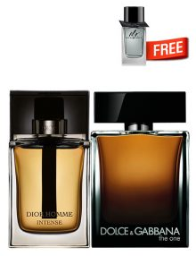 The One for Men, edP 100ml by Dolce and Gabbana + Dior Homme Intense, edP 100ml by Christian Dior + Mr Burberry Mini for Men, 5ml by Burberry Free - Bundle Offer for Men!