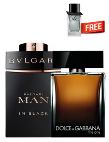 The One for Men, edP 100ml by Dolce and Gabbana + Bvlgari MAN in Black for Men, edP 100ml by Bvlgari + Mr Burberry Mini for Men, 5ml by Burberry Free - Bundle Offer for Men!