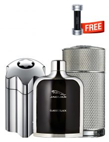 Bundle for Men: Emblem Intense for Men, edT 100ml by Mont Blanc  Icon for Men, edP 100ml by Dunhill  Jaguar Classic Black for Men, edT 100ml by Jaguar  Champion for Men, edT 90ml by Davidoff Free!