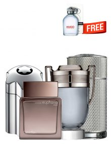 Bundle for Men: Emblem Intense for Men, edT 100ml by Mont Blanc  Icon for Men, edP 100ml by Dunhill  Invictus for Men, edT 100ml by Paco Rabanne  Euphoria Intense for Men, edT 100ml by Calvin Klein  Hugo Green TESTER for Men, edT 125ml by Hugo Boss Free!