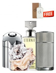 Bundle for Couples: Emblem Intense for Men, edT 100ml by Mont Blanc  Icon for Men, edP 100ml by Dunhill  Lady Emblem for Women, edP 75ml by Mont Blanc  Eternity for Women, edP 100ml by Calvin Klein  CK One TESTER (White) for Men and Women (Unisex), edT 200ml by Calvin Klein Free!