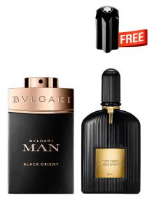 Bundle for Men: Tom Ford Black Orchid for Men and Women, edP 50ml by Tom Ford  Man Black Orient for Men, Parfum 100ml by Bvlgari  Emblem Mini for Men, 4.5ml by Mont Blanc Free!
