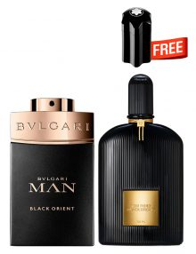 Bundle for Men: Tom Ford Black Orchid for Men and Women, edP 100ml by Tom Ford  Man Black Orient for Men, Parfum 100ml by Bvlgari  Emblem Mini for Men, 4.5ml by Mont Blanc Free!