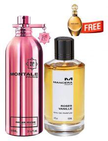 Bundle for Women: Roses Musk for Women, edP 100ml by Montale  Roses Vanille for Women, edP 120ml by Mancera  Roberto Cavalli Gold for Women, edP 30ml by Roberto Cavalli Free!