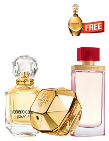 Bundle for Women: Paradiso for Women, edP 75ml by Roberto Cavalli  Arden Beauty for Women, edP 100ml by Elizabeth Arden  Lady Million for Women, edP 80ml by Paco Rabanne  Roberto Cavalli Gold for Women, edP 30ml by Roberto Cavalli Free!