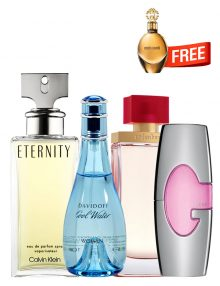 Bundle for Women: Cool Water for Women, edT 100ml by Davidoff  Guess Pink for Women, edP 75ml by Guess  Eternity for Women, edP 100ml by Calvin Klein  Arden Beauty for Women, edP 100ml by Elizabeth Arden  Roberto Cavalli Gold for Women, edP 30ml by Roberto Cavalli Free!