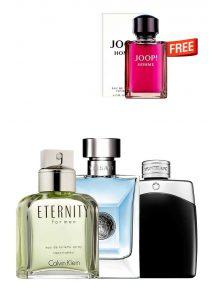 Bundle for Men: Versace pour Homme for Men, edT 100ml by Versace  Eternity for Men, edT 100ml by Calvin Klein  Legend for Men, edT 100ml by Mont Blanc  Joop Homme - Tester - for Men, edT 125ml by Joop Free!