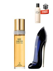 Gift Bundle for Women: White Diamonds for Women, edT 100ml by Elizabeth Taylor  Good Girl for Women, edP 50ml by Carolina Herrera  Dolce Perfumed Body Lotion for Women, 100ml by Dolce and Gabbana Free!  Gift Box Free!  Greeting Card Free!