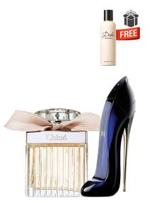 Gift Bundle for Women: Chloe for Women, edP 75ml by Chloe  Good Girl for Women, edP 50ml by Carolina Herrera  Dolce Perfumed Body Lotion for Women, 100ml by Dolce and Gabbana Free!  Gift Box Free!  Greeting Card Free!