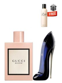 Gift Bundle for Women: Bloom for Women, edP 100ml by Gucci  Good Girl for Women, edP 50ml by Carolina Herrera  Dolce Perfumed Body Lotion for Women, 100ml by Dolce and Gabbana Free!  Gift Box Free!  Greeting Card Free!