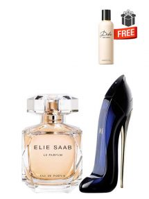 Gift Bundle for Women: Elie Saab le Parfum for Women, edP 90ml by Elie Saab  Good Girl for Women, edP 50ml by Carolina Herrera  Dolce Perfumed Body Lotion for Women, 100ml by Dolce and Gabbana Free!  Gift Box Free!  Greeting Card Free!