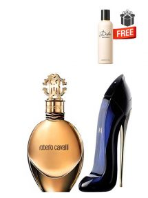 Gift Bundle for Women: Roberto Cavalli Gold for Women, edP 75ml by Roberto Cavalli  Good Girl for Women, edP 50ml by Carolina Herrera  Dolce Perfumed Body Lotion for Women, 100ml by Dolce and Gabbana Free!  Gift Box Free!  Greeting Card Free!