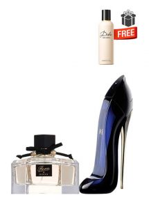 Gift Bundle for Women: Flora for Women, edT 75ml by Gucci  Good Girl for Women, edP 50ml by Carolina Herrera  Dolce Perfumed Body Lotion for Women, 100ml by Dolce and Gabbana Free!  Gift Box Free!  Greeting Card Free!