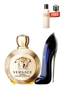 Gift Bundle for Women: Eros for Women, edP 100ml by Versace  Good Girl for Women, edP 50ml by Carolina Herrera  Dolce Perfumed Body Lotion for Women, 100ml by Dolce and Gabbana Free!  Gift Box Free!  Greeting Card Free!