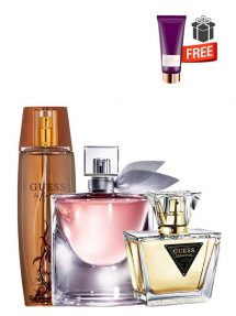 Gift Bundle for Women: Marciano for Women, edP 100ml by Guess  Seductive for Women, edT 75ml by Guess  La vie est belle for Women, edP 75ml by Lancome  Sublime Body Lotion for Women, 100ml by Carolina Herrera Free!  Gift Box Free!  Greeting Card Free!
