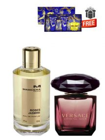Gift Bundle for Women: Roses Jasmine for Men and Women (Unisex), edP 120ml by Mancera + Crystal Noir for Women, edP 90ml by Versace + Yellow Diamond Intense Miniature Gift Set for Women (edT 5ml + Perfumed Shower Gel 25ml + Perfumed Body Lotion 25ml) by Versace Free! + Gift Box Free! + Special Card for Mom Free!