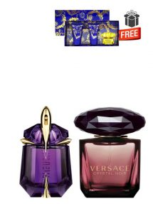 Gift Bundle for Women: Alien for Women, edP 30ml by Thierry Mugler + Crystal Noir for Women, edP 90ml by Versace + Yellow Diamond Intense Miniature Gift Set for Women (edT 5ml + Perfumed Shower Gel 25ml + Perfumed Body Lotion 25ml) by Versace Free! + Gift Box Free! + Special Card for Mom Free!