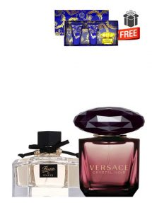 Gift Bundle for Women: Flora for Women, edT 75ml by Gucci + Crystal Noir for Women, edP 90ml by Versace + Yellow Diamond Intense Miniature Gift Set for Women (edT 5ml + Perfumed Shower Gel 25ml + Perfumed Body Lotion 25ml) by Versace Free! + Gift Box Free! + Special Card for Mom Free!