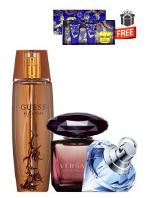 Gift Bundle for Women: Marciano for Women, edP 100ml by Guess + Crystal Noir for Women, edP 90ml by Versace + Wish for Women, edP 75ml by Chopard + Yellow Diamond Intense Miniature Gift Set for Women (edT 5ml + Perfumed Shower Gel 25ml + Perfumed Body Lotion 25ml) by Versace Free! + Gift Box Free! + Special Card for Mom Free!