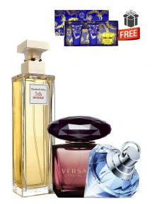 Gift Bundle for Women: 5th Avenue for Women, edP 125ml by Elizabeth Arden + Crystal Noir for Women, edP 90ml by Versace + Wish for Women, edP 75ml by Chopard + Yellow Diamond Intense Miniature Gift Set for Women (edT 5ml + Perfumed Shower Gel 25ml + Perfumed Body Lotion 25ml) by Versace Free! + Gift Box Free! + Special Card for Mom Free!