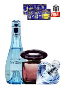 Gift Bundle for Women: Cool Water for Women, edT 100ml by Davidoff + Crystal Noir for Women, edP 90ml by Versace + Wish for Women, edP 75ml by Chopard + Yellow Diamond Intense Miniature Gift Set for Women (edT 5ml + Perfumed Shower Gel 25ml + Perfumed Body Lotion 25ml) by Versace Free! + Gift Box Free! + Special Card for Mom Free!