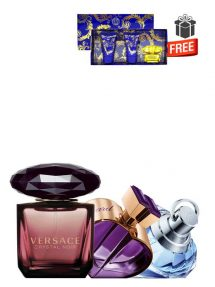 Gift Bundle for Women: Happy Spirit Amira d'amour for Women, edP 75ml by Chopard + Crystal Noir for Women, edP 90ml by Versace + Wish for Women, edP 75ml by Chopard + Yellow Diamond Intense Miniature Gift Set for Women (edT 5ml + Perfumed Shower Gel 25ml + Perfumed Body Lotion 25ml) by Versace Free! + Gift Box Free! + Special Card for Mom Free!
