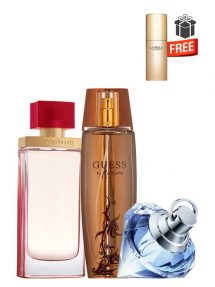 Gift Bundle for Women: Arden Beauty for Women, edP 100ml by Elizabeth Arden + Marciano for Women, edP 100ml by Guess + Wish for Women, edP 75ml by Chopard + Just Precious Purse Spray for Women, edP 10ml by La Perla Free! + Gift Box Free! + Special Card for Mom Free!