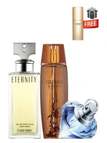 Gift Bundle for Women: Eternity for Women, edP 100ml by Calvin Klein + Marciano for Women, edP 100ml by Guess + Wish for Women, edP 75ml by Chopard + Just Precious Purse Spray for Women, edP 10ml by La Perla Free! + Gift Box Free! + Special Card for Mom Free!