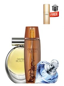 Gift Bundle for Women: Beauty for Women, edP 100ml by Calvin Klein + Marciano for Women, edP 100ml by Guess + Wish for Women, edP 75ml by Chopard + Just Precious Purse Spray for Women, edP 10ml by La Perla Free! + Gift Box Free! + Special Card for Mom Free!