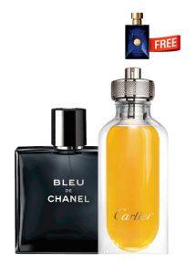 Bundle for Men: Bleu de Chanel for Men, edT 100ml by Chanel + L'Envol de Cartier for Men, edP 80ml by Cartier + Dylan Blue Miniature for Men, edT 5ml by Versace Free!