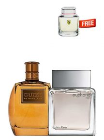 Bundle for Men: Marciano for Men, edT 100ml by Guess + Euphoria for Men, edT 100ml by Calvin Klein + Scuderia Miniature for Men, edT 4ml by Ferrari Free!