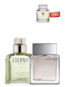 Bundle for Men: Eternity for Men, edT 100ml by Calvin Klein + Euphoria for Men, edT 100ml by Calvin Klein + Scuderia Miniature for Men, edT 4ml by Ferrari Free!