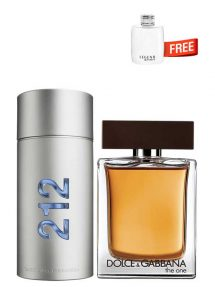 Bundle for Men: 212 MEN NYC for Men, edT 100ml by Carolina Herrera + The One for Men, edT 100ml by Dolce and Gabbana + Legend Spirit Miniature for Men, edT 4.5ml by Mont Blanc Free!