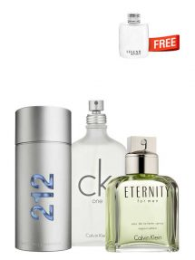 Bundle for Men: 212 MEN NYC for Men, edT 100ml by Carolina Herrera + CK One (White) for Men and Women (Unisex), edT 200ml by Calvin Klein + Eternity for Men, edT 100ml by Calvin Klein + Legend Spirit Miniature for Men, edT 4.5ml by Mont Blanc Free!