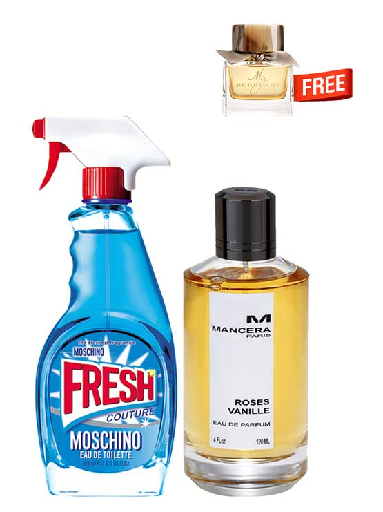 Bundle for Women: Roses Vanille for Women, edP 120ml by Mancera + Fresh Couture for Women, edT 100ml by Moschino + My Burberry Miniature for Women, edT 5ml by Burberry Free!