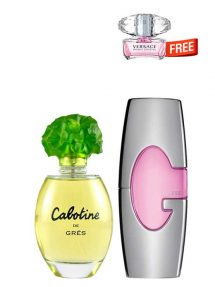 Bundle for Women: Cabotine for Women, edT 100ml by Gres + Guess Pink for Women, edP 75ml by Guess + Bright Crystal Miniature for Women, edT 5ml by Versace Free!