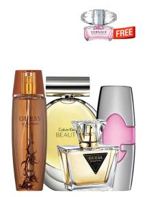 Bundle for Women: Beauty for Women, edP 100ml by Calvin Klein + Marciano for Women, edP 100ml by Guess + Guess Pink for Women, edP 75ml by Guess + Seductive for Women, edT 75ml by Guess + Bright Crystal Miniature for Women, edT 5ml by Versace Free!