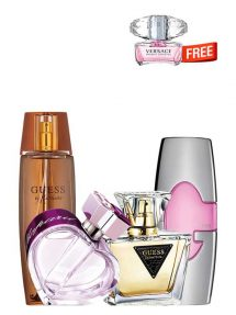 Bundle for Women: Happy Spirit for Women, edP 75ml by Chopard + Marciano for Women, edP 100ml by Guess + Guess Pink for Women, edP 75ml by Guess + Seductive for Women, edT 75ml by Guess + Bright Crystal Miniature for Women, edT 5ml by Versace Free!