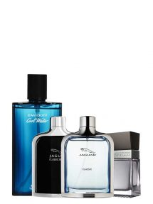 Bundle for Men: Jaguar Classic Blue for Men, edT 100ml by Jaguar + Cool Water for Men, edT 125ml by Davidoff + Jaguar Classic Black for Men, edT 100ml by Jaguar + Seductive for Men, edT 100ml by Guess