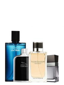 Bundle for Men: Silver Shadow for Men, edT 100ml by Davidoff + Cool Water for Men, edT 125ml by Davidoff + Jaguar Classic Black for Men, edT 100ml by Jaguar + Seductive for Men, edT 100ml by Guess