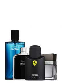 Bundle for Men: Scuderia Ferrari Black for Men, edT 125ml by Ferrari + Cool Water for Men, edT 125ml by Davidoff + Jaguar Classic Black for Men, edT 100ml by Jaguar + Seductive for Men, edT 100ml by Guess