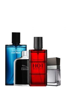Bundle for Men: Hot Water for Men, edT 110ml by Davidoff + Cool Water for Men, edT 125ml by Davidoff + Jaguar Classic Black for Men, edT 100ml by Jaguar + Seductive for Men, edT 100ml by Guess