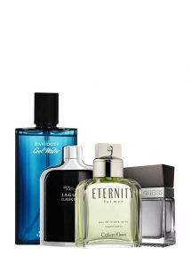 Bundle for Men: Eternity for Men, edT 100ml by Calvin Klein + Cool Water for Men, edT 125ml by Davidoff + Jaguar Classic Black for Men, edT 100ml by Jaguar + Seductive for Men, edT 100ml by Guess