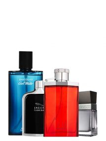 Bundle for Men: Desire Red for Men, edT 150ml by Dunhill + Cool Water for Men, edT 125ml by Davidoff + Jaguar Classic Black for Men, edT 100ml by Jaguar + Seductive for Men, edT 100ml by Guess