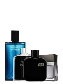 Bundle for Men: Eau de Lacoste Noir Intense (Black) for Men, edT 100ml by Lacoste + Cool Water for Men, edT 125ml by Davidoff + Jaguar Classic Black for Men, edT 100ml by Jaguar + Seductive for Men, edT 100ml by Guess