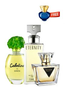 Bundle for Women: Cabotine for Women, edT 100ml by Gres + Seductive for Women, edT 75ml by Guess + Eternity for Women, edP 100ml by Calvin Klein + Dylan Blue pour Femme Miniature for Women, edP 5ml by Versace Free!